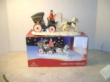 Pretty Christmas Holiday Time Resin Horse and Carriage In Box
