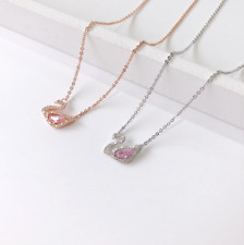 Solid 925 Sterling Silver Pink crystal swan pendant chain necklace Gift Box E21