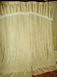 CROSCILL PARFAIT CHAMPAGNE GOLD FRINGED CRINKLED FABRIC SHOWER CURTAIN 70 X 73