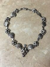 Vintage Mexican Sterling Silver Grape Vine Necklace,