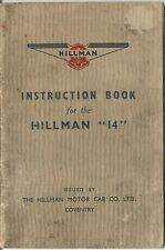 Hillman Fourteen 14 1938-40 Original UK Owner's Handbook