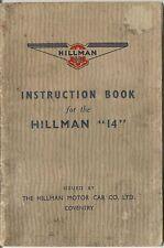 Hillman Fourteen 14 1938-40 Original UK Owner's Handbook