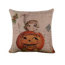 Halloween Cotton Linen Throw Pillow Case Sofa Waist Cushion Cover Home Decor RW