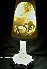 German Milkglass Lithopane Lamp Circa 1920