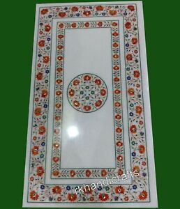 24 x 48 Inches Marble Dinette Table Top Carnelian Stone Inlaid Coffee Table Top