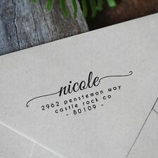 Personalized Custom Name Card Returned Address Handle Mounted Rubber Stamp RE743