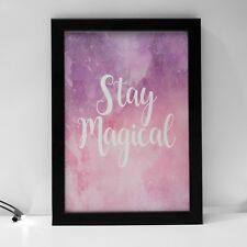 Kids Baby Stay Magical Pink Purple Room Decor Print Girls Boys