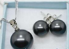 1 set 10-14mm black South sea shell pearl necklace pendant + earring LL003