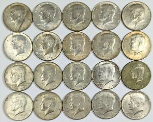 Lot of 20- 1965-1969 Kennedy Half Dollars 40% Silver 190829B