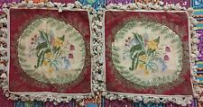 ANTIQUE CROSS STITCH FRENCH HAND WOVEN 2 PIECES TAPESTRY CUSHION