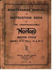 NORTON MODEL 16H 18 BIG 4 ES2 ORIG.1952 FACTORY MAINTENANCE & INSTRUCTION MANUAL