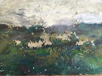 Peinture Paysage Abstrait Abstraction Huile Sur Carton Non Signé