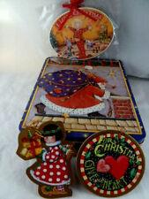 "Mary Engelbreit 7X8"" Tin Box Believe Santa Claus Christmas 1986 plus 3 ornaments"