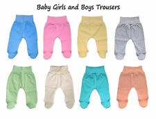 Baby Girls and Boys Trousers Leggings with Feet, 100% Cotton size: NB to 18 mths