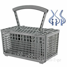 UNIVERSAL Dishwasher Cutlery Basket Cage + Baby Bottle Plastic Hook Clips