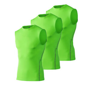 3 × Men's Vest Bodybuilding Compression T Shirts Singlet Fitness Sports Tank Top