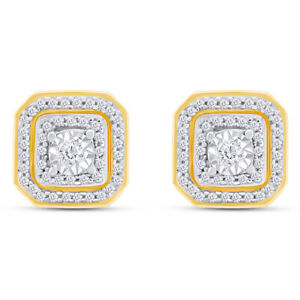 3/8 Ct Genuine Natural Diamond Halo Stud Earrings 14K Yellow Gold Over Sterling
