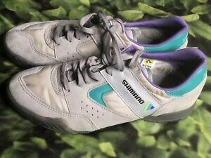 Vintage Shimano  SPD Suede Leather Cycling Shoes Women's EUR 41 Laces