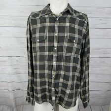Lucky Brand Large Shirt Mens Brown Plaid Flannel Pearl Snap Western