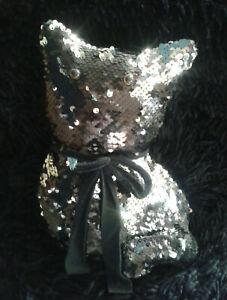 Novelty BLACK CAT Black/Silver Sequins Sparkly Novelty Doorstop FREE POST
