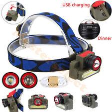 Lampe frontale CREE XPE Q5 LED + Cob rechargeable sur USB Puissante Forte