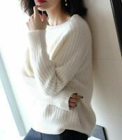 Womens Warm Crew Neck Cashmere Blend Sweater Long Sleeve Knitted Pullovers Tops