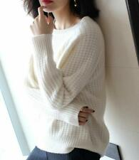 Womens Crew Neck Cashmere Sweater Long Sleeve Knitted Pullovers Tops Korean V172