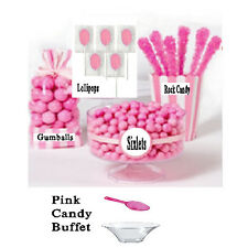 Pink Candy Buffet, Gum Balls, Sixlets, Lollipops, Rock Candy, Free Bowl & Scoop