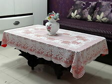 "TABLE CLOTH - 36"" x 54"" Katwa Clasic Lace Vinyl Tablecloth Rose Design (Red)"