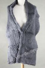 Sale! NEW PLUS SIZE RABBIT FUR KNITTED SCARF/WRAP/STOLE WITH POCKETS CHARCOAL