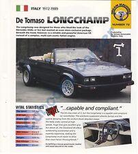 DE TOMASO LONGCHAMP IMP COLLECTOR BROCHURE SPECS GROUP 2, NO 72