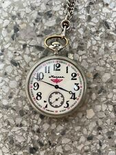 Molnija Russian Railroad Pocket Watch Open Face Wheels W/ Wings18 Jewels