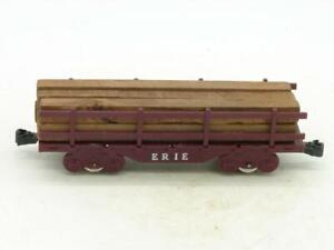 Marx Trains Erie 4 Wheel Flat Car with Fences and Lumber Load