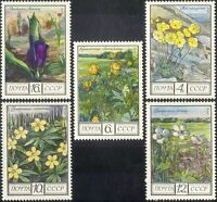 Russia 1975 Poppy/Anemone/Globe Flower/Flowers/Plants/Nature 5v set (n17787)