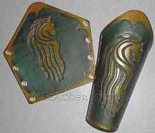 Leather Bracers, tooled LOTR Riders of Rohan Horse image LARP SCA Fantasy