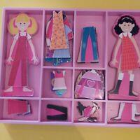 Melissa Doug Abby and Emma Deluxe Magnetic Wooden Dress-Up Dolls Play Set