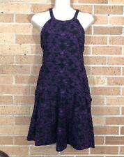 Free People Lace Look Trapeze Slip Dress Size Medium Purple Black Burnout -C