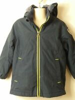 BOYS H&M SIZE EUR 104 NAVY & YELLOW HOODED PADDED COAT JACKET KIDS