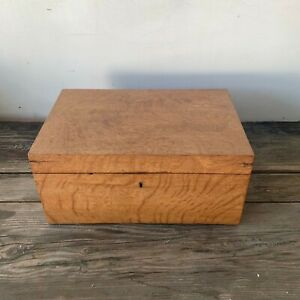 Antique portable travel desk maple wood document box lidded chest early 1800's