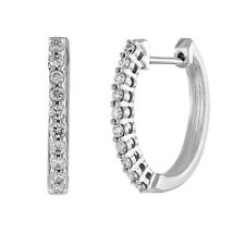 14K White Gold Finish Silver 2.00 Ct Round Diamond Hoop Earrings Women's Hallows