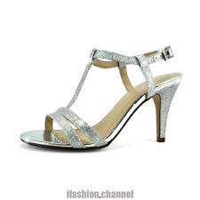 20bb5e5f641 Classified Open Toe Party Wedding Bridal Strappy Heel Glitter Sandal Shoe  Begin Silver 7