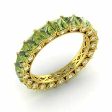 Certified 3.49 Ct Princess Peridot & Diamond Eternity Band Ring 18k Yellow Gold