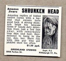 1957 Print Ad Amazon Jivaro Shrunken Head Novelty Replica