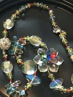 Gorgeous Multi Color Crystal Glass Flower Necklace Vintage