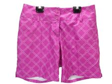 """Adidas Women's Flat Front 7.5"""" Golf Shorts Pink with White Stripes Size 4"""