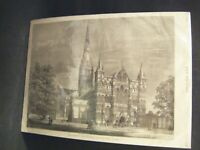 1875 Original Antique Print of SALISBURY CATHEDRAL (From The Graphic Magazine)