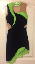 Del Arbour Black Velvet And Green Figure Ice Skating Competition Dress sz 8-10