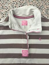 JOULES - Brown-Oatmeal Striped - Four Button Neck - Cowdray Sweatshirt - UK 12