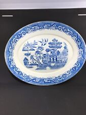 "ANTIQUE BLUE WILLOW ""RIDGEWAYS"" LARGE PLATTER . 1800's Rare !"