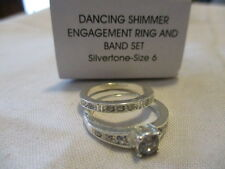 AVON DANCING SHIMMER ENGAGEMENT RING & BAND -Silvertone CZ's& Rhinestones Size 6